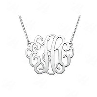 Silver Plated Custom Name Monogram Necklace