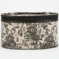 Two Tone Floral Print Cosmetic Case Black One Size For Women 24812110001
