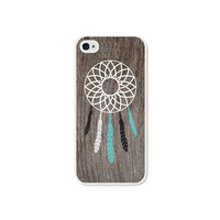 Dreamcatcher iPhone 5 Case - Plastic iPhone 5 Cover - Wood Tribal Southwest iPhone 5 Skin - Turquoise Brown White Cell Phone