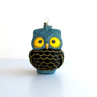 Owl: Hand Painted Glass Owl Ornament Blue Black and yellow Owl