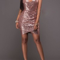 Pink Plain Sparkly Sequin Spaghetti Straps Bodycon Ruched NYE Party Mini Dress