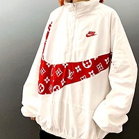 NIke new stitching front and rear large hook stand collar sports zipper jacket white