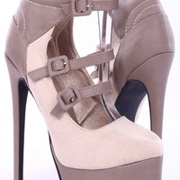 NUDE FAUX SUEDE LEATHER CONTRAST HIGH BACK STRAPPY HIGH HEEL PUMPS