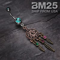 Majestic Dream Catcher Dangle Belly Button Navel Ring NEW Fashion Body Jewelry