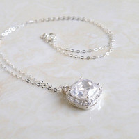 Cushion CZ Halo and Sterling Silver Pendant Necklace Itzel NC1 Mothers Day