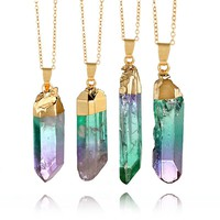 Iridescent Rainbow - Raw Crystal Pendant Necklace