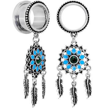 Green Gem Feather Dreamcatcher Screw Fit Tunnel Plug Set