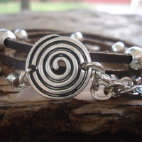 SPIRAL in BROWN LEATHER leather wrap  bracelet and beads