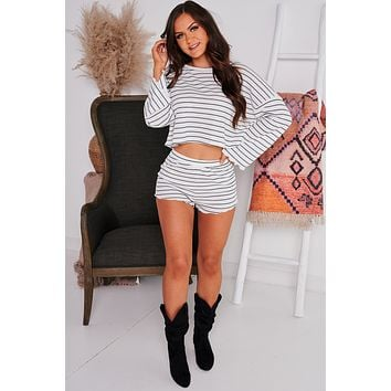 Simple And Easy Striped Waffle Knit Two Piece Set (Off White/Navy)