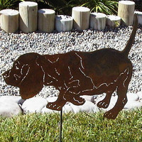Strolling and sniffing Beagle  Metal art garden sculpture dog lovers gift / memorial stake