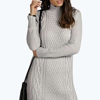 Diana Roll Neck Cable knit Jumper Dress