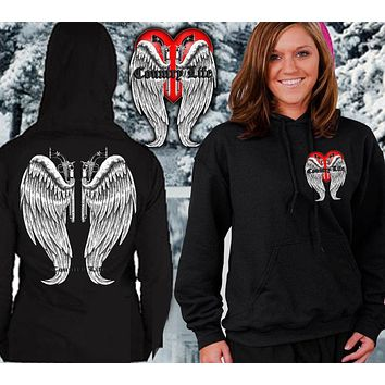 Country Life Outfitters Wings Guns Vintage Black Unisex Hoodie