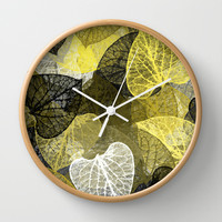 Black & Gold Leaf Abstract Wall Clock by Christina Rollo   Society6