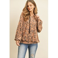 Leopard Brushed Hacci Puff Sleeved Hoodie With Drawstrings