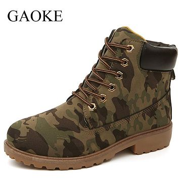 Women Ankle Boots Combat Shoes PU Leather Waterproof Boots Martin Military Shoes