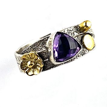 Amethyst Two Tone Artisan Crafted Criss Cross Ring