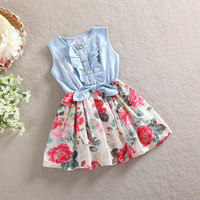 Girls Denim and Floral Spring Summer Dress