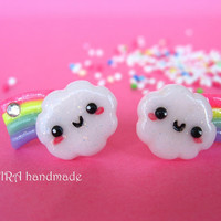 Kawaii cloud with rainbow ear studs