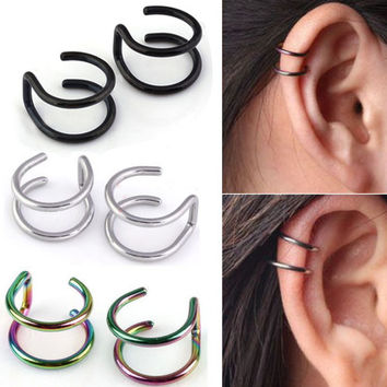 2015 hot sell Ear Clip Jewelry Men's Women's Clip-on Earrings Non-piercing Ear Cartilage Cuff Eardrop 56S4