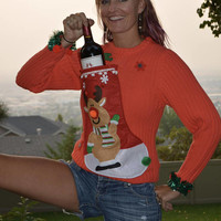 Wine Holder, Ugly Christmas Sweater, woman's Small, alcohol, wine, novelty, one of a kind, vintage sweater, jumper