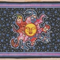 CLEARANCE Psychedelic Celestial Dreaming Sun Handmade Cotton Tapestry Tablecloth