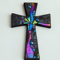 "Mosaic Wall Cross, Abstract Modern Art, Black with Iridescent Stained Glass, Handmade Mosaic Design, 12"" x  8"""