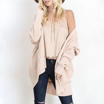 Southern Comfort Open Knit Cardigan in Blush