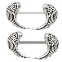 Nipple Ring Angel Wings Bar Body Jewelry Sold As Pair 14g 1/2""