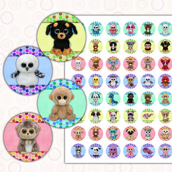 """Beanie Boo's 1 inch digital images collage sheet 8.5x11"""" and 4x6"""""""