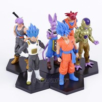 Dragon Ball Z Son Goku Vegeta Beerus Freeza Trunks PVC Figures Collectible Model Toys 6pcs/set 13~15cm