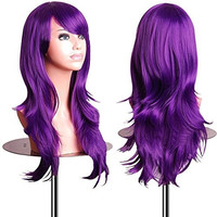EmaxDesign Wigs 28 Inch Cosplay Wig For Women With Wig Cap and Comb(Dark Purple)