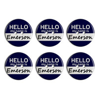Emerson Hello My Name Is Plastic Resin Button Set of 6