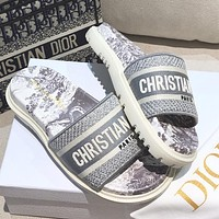Dior DWAY SLIDE early spring new jacquard embroidery sandals Shoes Gray