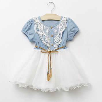 Girls Denim Tutu Flower Girl Dress,Toddler Denim Dress, Cowgirl Dress, Country Flower Girl Dress, Denim Tutu Dress,Girls Birhday Dress.