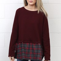Plaid Peplum + Elbow Patch Block Long Sleeve {Burgundy}