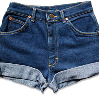 Vintage 90s Lee Dark Blue Wash High Waisted Rise Cut Offs Cuffed Rolled Jean Denim Shorts – Size 26