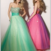 Buy Pretty Ball Gown Strapless Sequin Tulle Prom Dress under 200-SinoAnt.com