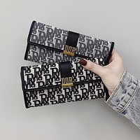 Dior style casual monogrammed long wallet clip card bag hand bag