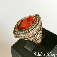Authentic Turkish Ottoman Style Handmade 925 Sterling Silver Ring With Garnet Stone.