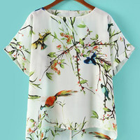 White Bird Leaf Print Short Sleeve Chiffon Top