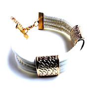 """Double Up"" White Faux Leather Bracelet With Gold Accents"
