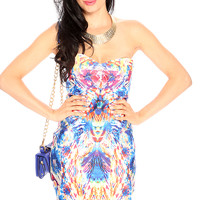 Royal Blue Yellow Printed Strapless Cute Bodycon Party Dress