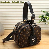 Louis Vuitton LV Women Retro Leather Handbag Crossbody Shoulder Bag Satchel Black handle + Coffee LV Print,