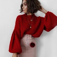 Winter lantern sleeve knitted sweater pullover Women loose round neck red sweater Female autumn casual sweater jumper NQ831424