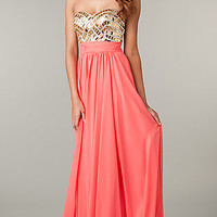 Long Strapless Prom Dress with Jeweled Bodice