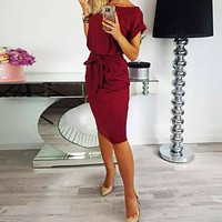 Women 2018 New Spring Summer Dress Slim Bodycon Bandage Dress Dress Solid Sexy Casual Short Sleeve Knee-Length Sundress GV451