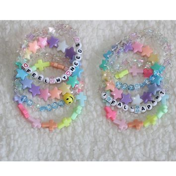 Kawaii Pastel Beaded Letter Text Bracelet Stack(Set of 9) /Cute jewelry/rave/festival