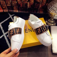 Fendi 2018 latest small white shoes leather casual shoes brown