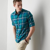 AEO Plaid Flannel Button Down Shirt, Green | American Eagle Outfitters