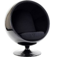 LexMod Eero Aarnio Style Ball Chair in Black Exterior with Black Interior